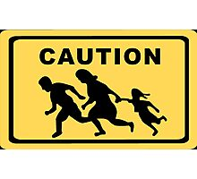 Running Family / Running Immigrants Sign Photographic Print