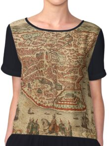 Istanbul Vintage map.Geography Turkey ,city view,building,political,Lithography,historical fashion,geo design,Cartography,Country,Science,history,urban Chiffon Top