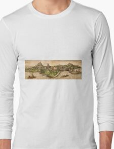 Iraklion Vintage map.Geography Greece ,city view,building,political,Lithography,historical fashion,geo design,Cartography,Country,Science,history,urban Long Sleeve T-Shirt