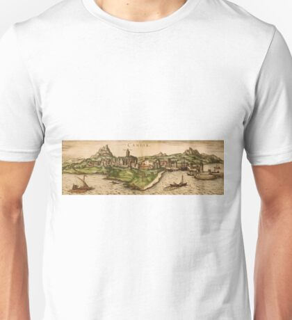 Iraklion Vintage map.Geography Greece ,city view,building,political,Lithography,historical fashion,geo design,Cartography,Country,Science,history,urban Unisex T-Shirt