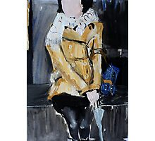 Contemporary Woman With Umbrella Tan Leather Jacket Acrylic Painting  Photographic Print