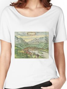 Innsbruck Vintage map.Geography Austria ,city view,building,political,Lithography,historical fashion,geo design,Cartography,Country,Science,history,urban Women's Relaxed Fit T-Shirt