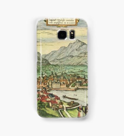 Innsbruck Vintage map.Geography Austria ,city view,building,political,Lithography,historical fashion,geo design,Cartography,Country,Science,history,urban Samsung Galaxy Case/Skin