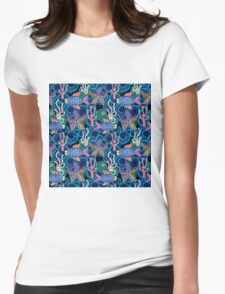 Sea life colorful mosaic. Womens Fitted T-Shirt