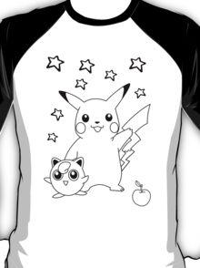 Black and White Pikachu and Jigglypuff T-Shirt