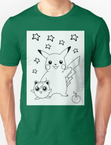 Black and White Pikachu and Jigglypuff T-Shirt