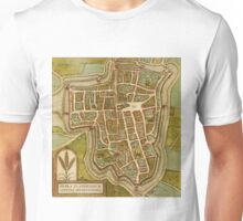 Ieper Vintage map.Geography Belgium ,city view,building,political,Lithography,historical fashion,geo design,Cartography,Country,Science,history,urban Unisex T-Shirt