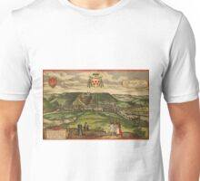 Huy Vintage map.Geography Belgium ,city view,building,political,Lithography,historical fashion,geo design,Cartography,Country,Science,history,urban Unisex T-Shirt