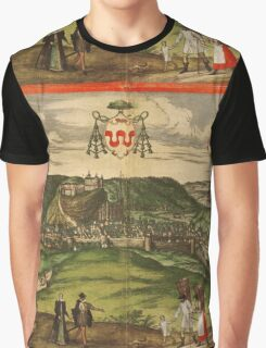 Huy Vintage map.Geography Belgium ,city view,building,political,Lithography,historical fashion,geo design,Cartography,Country,Science,history,urban Graphic T-Shirt