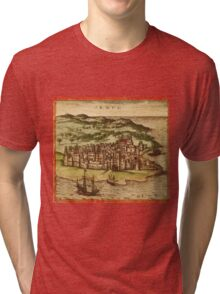 Hormus Vintage map.Geography Germany ,city view,building,political,Lithography,historical fashion,geo design,Cartography,Country,Science,history,urban Tri-blend T-Shirt