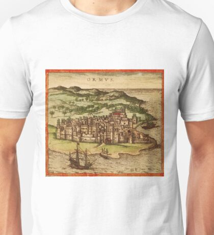 Hormus Vintage map.Geography Germany ,city view,building,political,Lithography,historical fashion,geo design,Cartography,Country,Science,history,urban Unisex T-Shirt