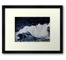 Ocean Waves Seascape Acrylic Painting On Paper Framed Print