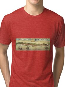 Helsinor Vintage map.Geography Denmark ,city view,building,political,Lithography,historical fashion,geo design,Cartography,Country,Science,history,urban Tri-blend T-Shirt