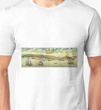 Helsinor Vintage map.Geography Denmark ,city view,building,political,Lithography,historical fashion,geo design,Cartography,Country,Science,history,urban Unisex T-Shirt