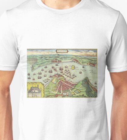Helsingor Vintage map.Geography Denmark ,city view,building,political,Lithography,historical fashion,geo design,Cartography,Country,Science,history,urban Unisex T-Shirt