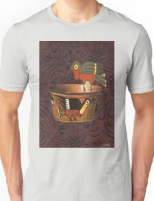 Native American Bird Indian Pottery Leather Unisex T-Shirt