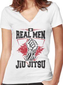 Real men do jiu jitsu Women's Fitted V-Neck T-Shirt