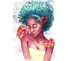 Teal Afro Floral Love Photographic Print