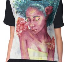 Teal Afro Floral Love Chiffon Top