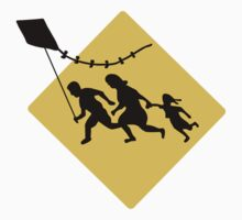 Running Immigrant Family Flying a Kite  by sweetsixty