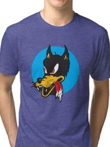 Rockabilly Cartoon Wolf Tri-blend T-Shirt