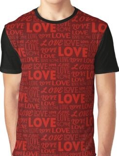 Repeating word Love in different fonts. Seamless background. Valentine's Day concept.  Graphic T-Shirt