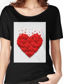 Little hearts form a big heart. Valentine's day concept.  Women's Relaxed Fit T-Shirt