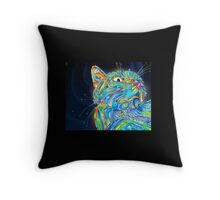 Psychedelic Cat Pillow Throw Pillow