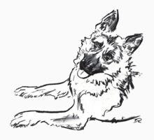 German Shepherd Drawing Kids Tee