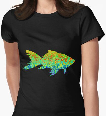 Psychedelic Fish Womens Fitted T-Shirt