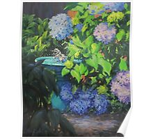 Birdbath and Blossoms Poster