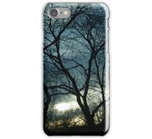 Blue & Yellow Color Sky Sunset Tree Silhouette iPhone Case/Skin