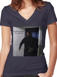 "MC ride walking into a door saying ""oh boy whats for di Women's Fitted V-Neck T-Shirt"