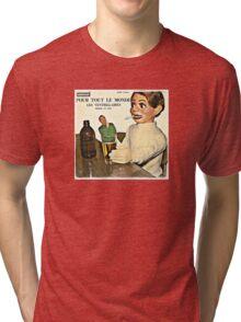Vintage Record Smoking Puppet Tri-blend T-Shirt