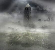 Foggy landscape with dark tower by JBlaminsky