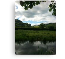 Water Earth Sky - Walk Along The Canal 2 Canvas Print