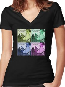 Vintage Pattern Retro Women's Fitted V-Neck T-Shirt