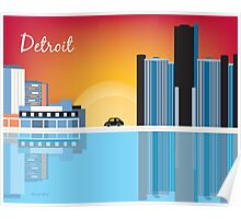 Detroit, Michigan - Horizontal - Retro Skyline Illustration by Loose Petals Poster