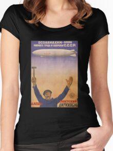 Soviet Russia Zeppelin Poster Women's Fitted Scoop T-Shirt