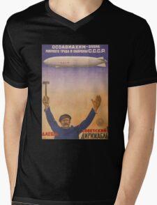 Soviet Russia Zeppelin Poster Mens V-Neck T-Shirt