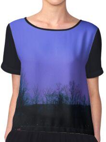 Purple Violet Twilight Sky & Tree Silhouette Chiffon Top