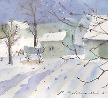 Winter village landscape by Monika Malinowska