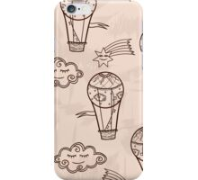 Retro background with hot air balloons iPhone Case/Skin