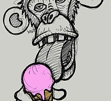 Monkey eating an ice cream by Brett Gilbert