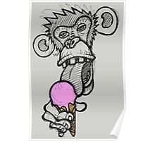 Monkey eating an ice cream Poster