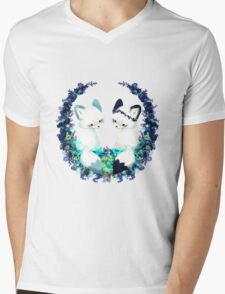 Floral Foxes Mens V-Neck T-Shirt
