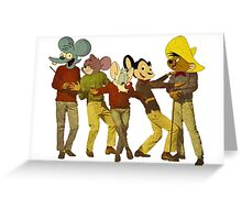 Dancing Cartoon Mice Greeting Card