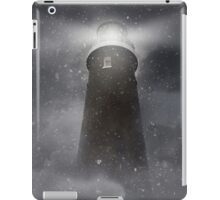 An old lighhouse with clouds and snow falling. iPad Case/Skin
