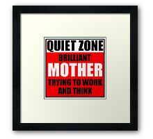 Quiet Zone Brilliant Mother Trying To Work And Think Framed Print
