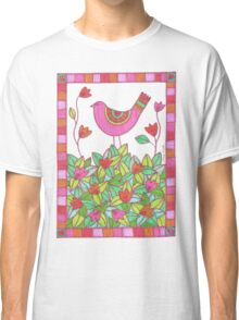 Colorful Bird with Flowers  Classic T-Shirt